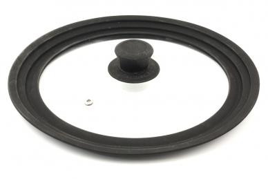 Крышка с силиконовым ободом стеклянная 24-26-28 см (чёрная)