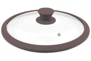 Стеклянная крышка 26 см с коричневым силиконовым ободом TimA