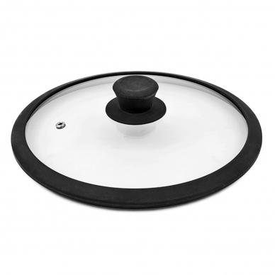 Стеклянная крышка с силиконовом черным  ободком, 20 см
