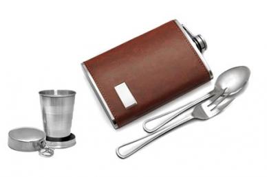Походный набор (фляга 250 мл, стакан и столовые приборы) Guo Tai