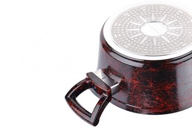 Надежная кастрюля 4.9 мл (мраморная крошка, бордовый мрамор) Mayer & Boch