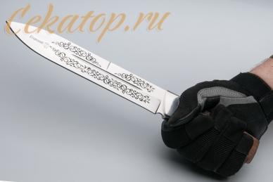 """Нож """"Егерский"""" (клинок с узором) Кизляр, хват снизу"""