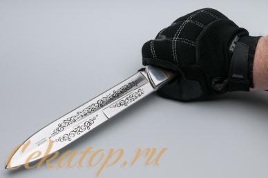 "Нож ""Егерский"" (клинок с узором) Кизляр, хват сверху"