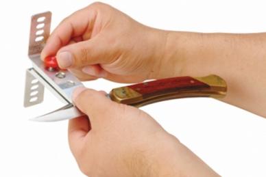Набор для заточки ножей Optima 1 Lansky, установка ножа
