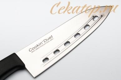 Нож Cook'in Duet Rib-Santoku 170 мм Satake, клинок