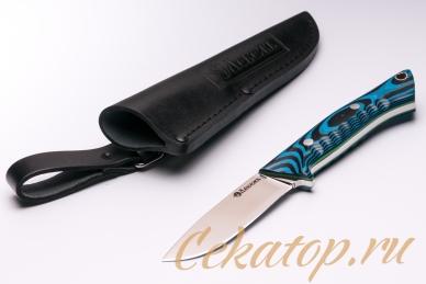 Нож и ножны «Соколиный Глаз» (сталь N690, черно-синий G-10) Лебежь, Россия