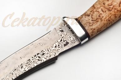 """Нож """"Клык"""" (дамасская сталь, карельская береза, алюминий) АиР"""