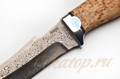 """Нож """"Клык"""" (дамасская сталь, карельская береза, алюминий) АиР, Россия"""