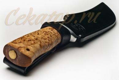 """Нож """"Клык"""" (дамасская сталь, карельская береза, алюминий) АиР в ножнах"""