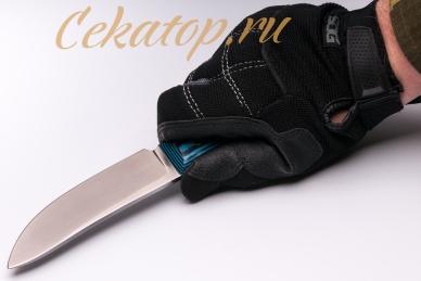 """Нож """"Лесник"""" (сталь D2, черно-синий G-10) Ясный Сокол, хват сверху"""