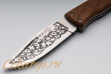 Нож складной НСК-3 (клинок с узором, орех) Кизляр, Россия