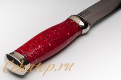 """Нож """"Швед"""" (сталь D2, красный акрил) Лебежь, рукоять"""