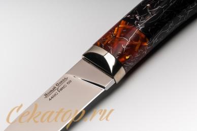 """Нож """"Слон"""" Нсм7 (сталь 440C, черно-оранжевый акрил) Ясный Сокол, логотип"""
