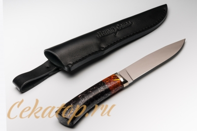 """Нож и ножны """"Слон"""" Нсм7 (сталь 440C, черно-оранжевый акрил) Ясный Сокол"""