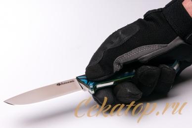 Нож «Соколиный Глаз» (сталь N690, черно-синий G-10) Лебежь, хват снизу