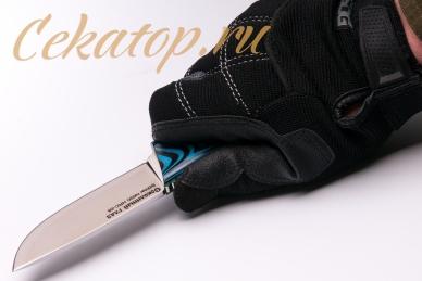 Нож «Соколиный Глаз» (сталь N690, черно-синий G-10) Лебежь, хват сверху