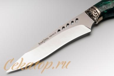 """Нож """"Ведьма"""" Нсм47 (сталь K340, зеленый акрил) Ясный Сокол, клинок"""