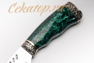 """Нож """"Ведьма"""" Нсм47 (сталь K340, зеленый акрил) Ясный Сокол, рукоять"""