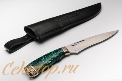 """Нож """"Ведьма"""" Нсм47 (сталь K340, зеленый акрил) Ясный Сокол, Россия"""