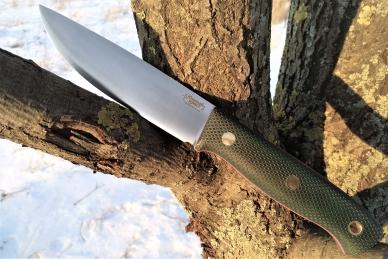 Нож X (зелёная микарта с оружейной насечкой)