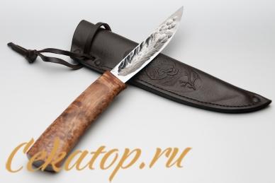 """Нож и ножны """"Якутский малый"""" (кованый дол, стаб. древесина) Игорь Шилин"""