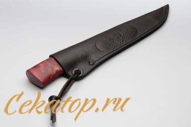 """Ножны для ножа """"Якутский средний"""" (ков. дол, красная стаб. кар. береза) Шилин"""