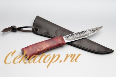 """Нож и ножны """"Якутский средний"""" (ков. дол, красная стаб. кар. береза) Шилин"""