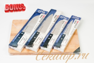 Бонус-пак: японские ножи Kanetsugu 21 EXEL и бамбуковая разделочная доска