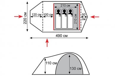 Палатка экспедиционная Cave Tramp, схема