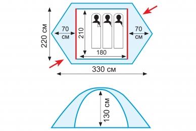 Палатка экспедиционная Rock 3 Tramp, схема
