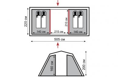 Палатка кемпинговая Brest 4 Tramp, схема