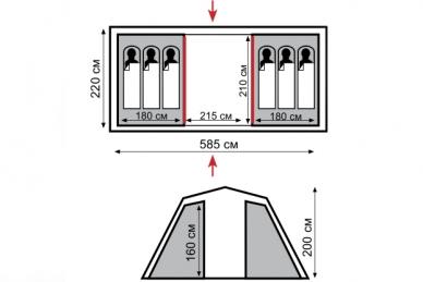 Палатка кемпинговая Brest 6 Tramp, схема