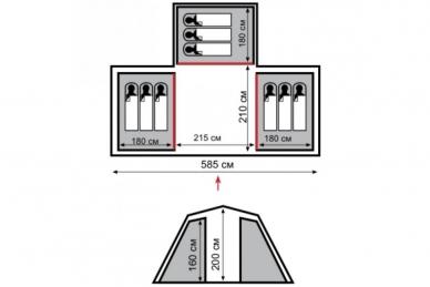 Палатка кемпинговая Brest +9 Tramp, схема