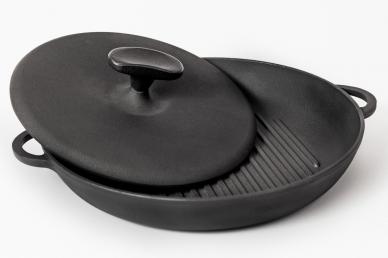 Сковорода-гриль чугунная с прессом 260х40, Украина
