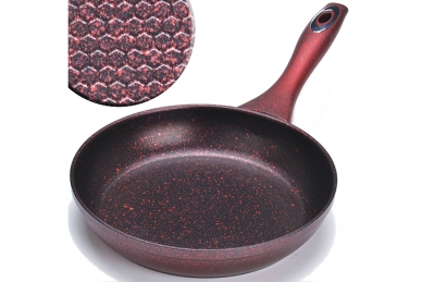 Сковорода литая 180 мм (мраморный камень, красная) Mayer & Boch