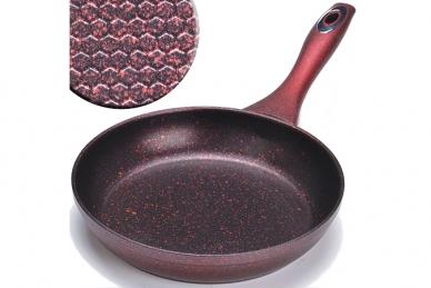Сковорода литая 220 мм (мраморный камень, красная) Mayer & Boch