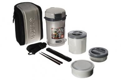 Термос для еды с контейнерами LWU-B170 Warm Silver 1,22 л Tiger