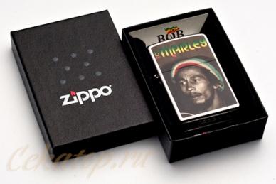 "Зажигалка Zippo 28488 ""Bob Marley Reggae, Street Chrome"""