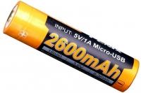 Li-ion 18650 с Micro USB (3,6 В; 2600 мАч) ARB-L18-2600U Fenix
