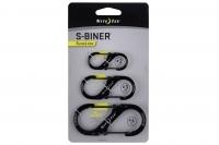 Набор алюминиевых двусторонних карабинов S-Biner SlideLock # 2 3 4 (black) Nite