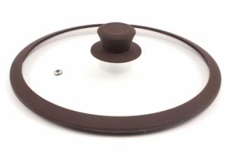 Стеклянная крышка 22 см с коричневым силиконовым ободом TimA