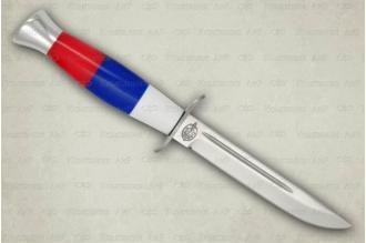 """Нож Финка-2 """"Русский Флаг"""" АиР (Златоуст), Россия – рукоять из оргстекла"""