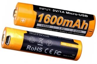Li-ion 14500 с Micro USB (1,5 В; 1600 мАч) ARB-L14-1600U Fenix
