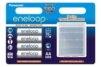 Аккумуляторы Eneloop AA (4 шт., Ni-Mh, 1900 mAh, с футляром) Panasonic, Япония