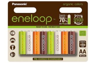 Аккумуляторы Eneloop AA Organic Colors (8 шт., Ni-Mh, 1900 mAh) Panasonic, Япони