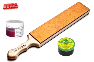 Доска для правки ножей 430*70*28 мм, паста 60/40 НОМ и паста ГОИ