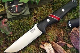 Нож Bravo 1 3VR (черная рукоять с красным) Bark River, США