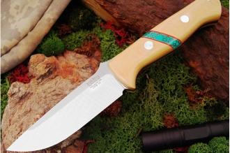 Нож Bravo 1 3VR (рукоять слоновая кость с бирюзой) Bark River, США