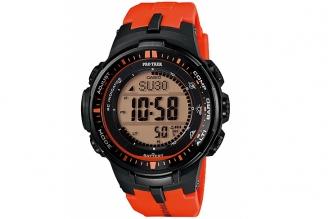 Часы мужские Casio PRO TREK PRW-3000-4Е с ремешком оранжевого цвета