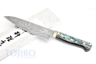 HI-1127 Нож шеф 180мм, сталь R-2 в обкладках Damaskus, рукоять перламутр
